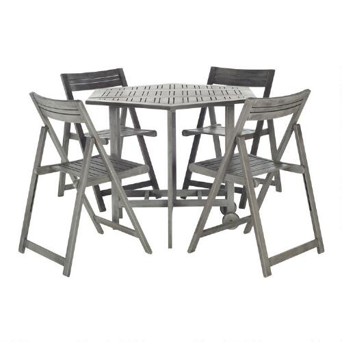 Graywash Wood Holcut Square 5 Piece Outdoor Dining Set