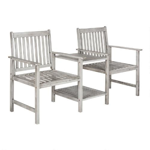 Ash Gray Wood Twin Seat Outdoor Bench