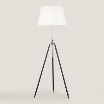 Bronze and Chrome Surveyor Tripod Floor Lamp