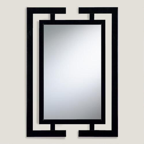 Black Wood Beveled Wall Mirror