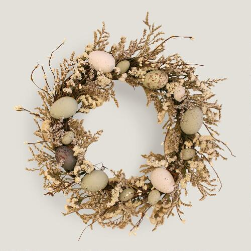 Live Flower and Easter Egg Wreath