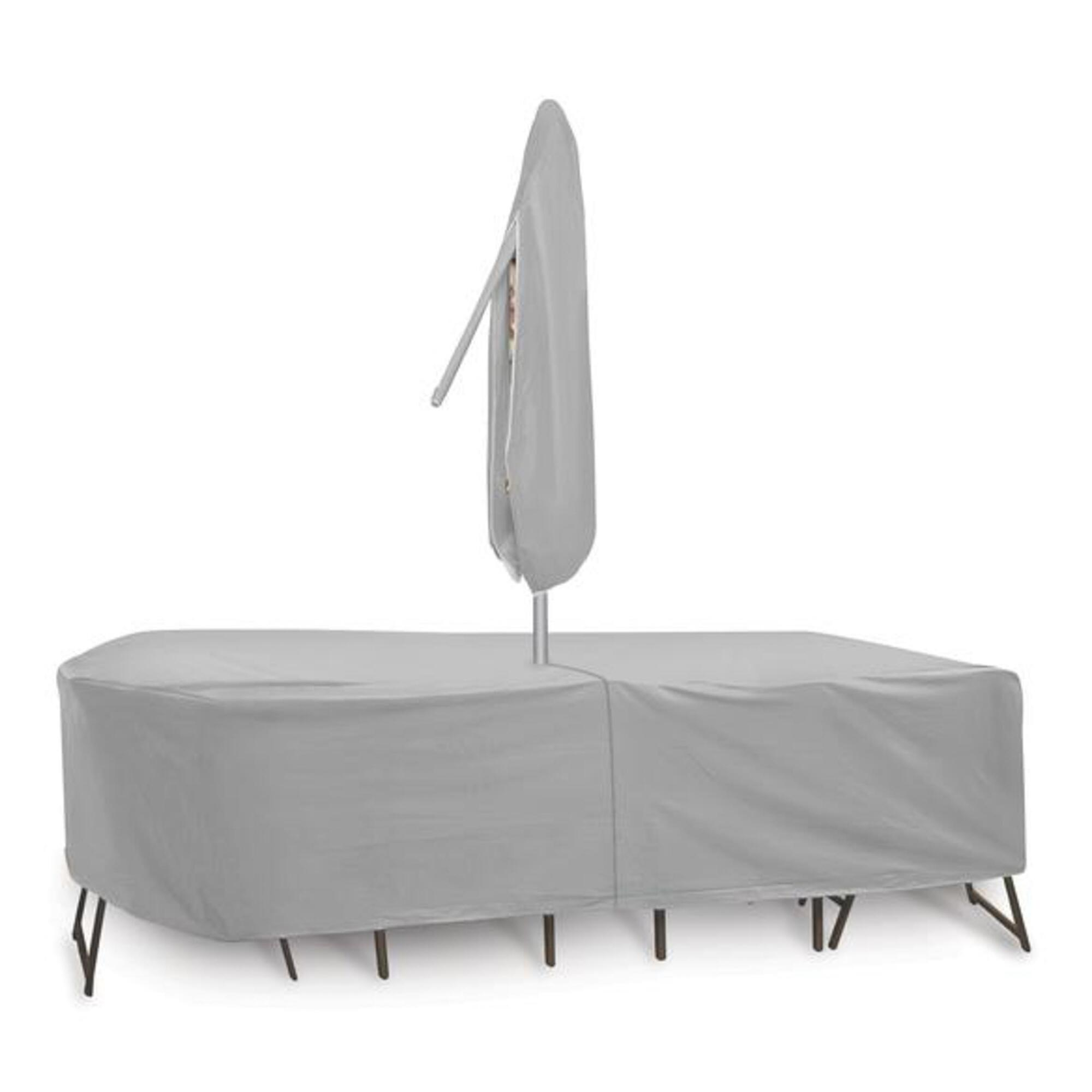 Extra large outdoor table set cover with umbrella hole for Large patio umbrella covers