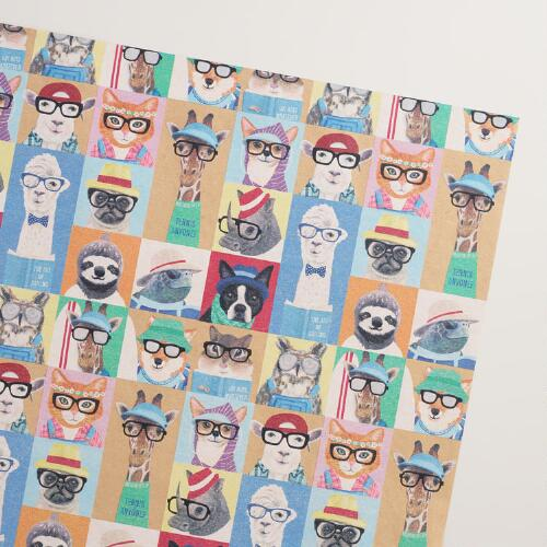 Hipster  Animals Kraft Wrapping Paper Roll