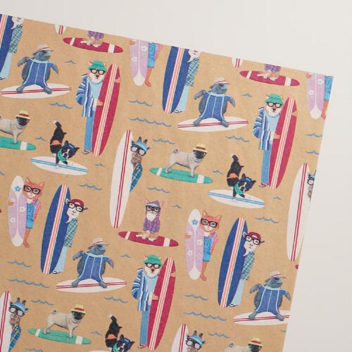 Surfing Hipster Animals Kraft Wrapping Paper Roll