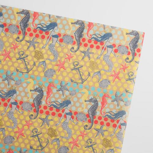 Mermaids Seahorse Kraft Wrapping Paper Roll