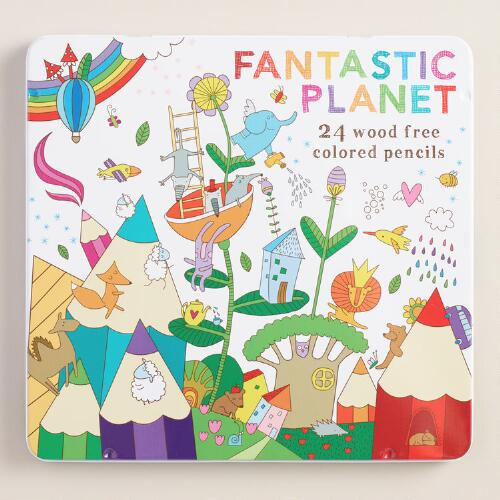 Fantastic Planet Wood Free Colored Pencils Set of 24