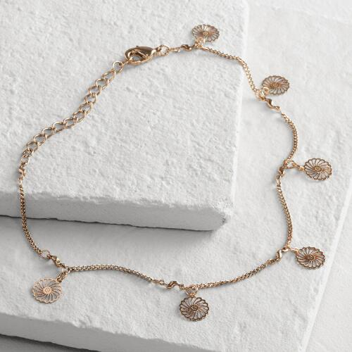 Gold Flower Charm Anklet
