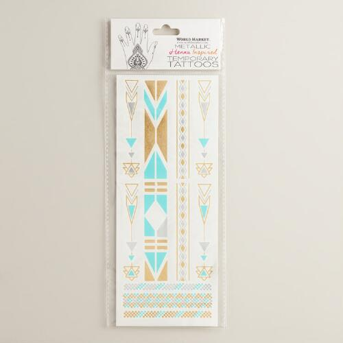 Turquoise Silver and Gold Temporary Tattoos