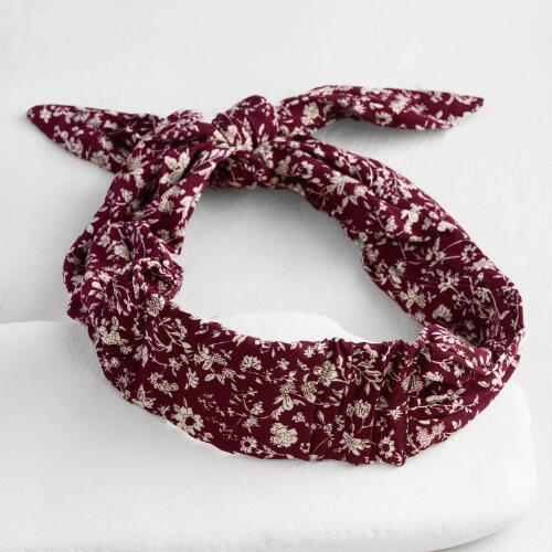 Burgundy Floral Headwrap