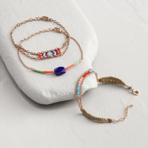 Rose Gold Red Bead and Chain Bracelets Set of 3