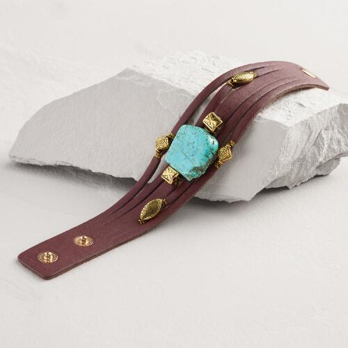 Leather and Turquoise Layered Snap Bracelet