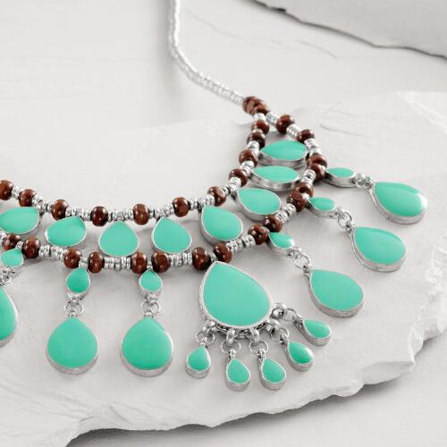 Silver, Turquoise and Wooden Bead Statement Necklace