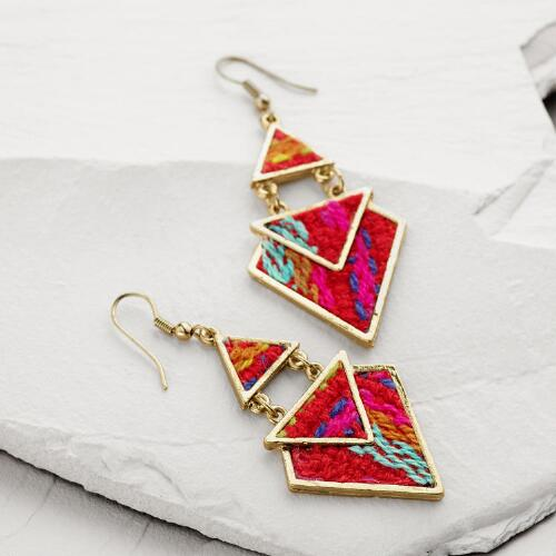 Gold Fuchsia Tribal Geometric Drop Earrings
