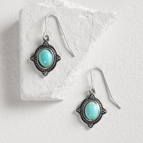 Oval Silver Turquoise  Drop Earrings