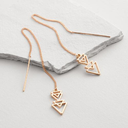 Gold Triangle Threader Earrings