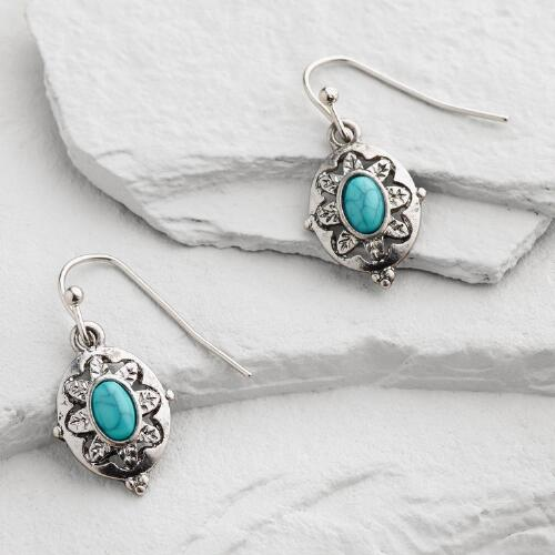 Small Silver Turquoise Flower Drop Earrings