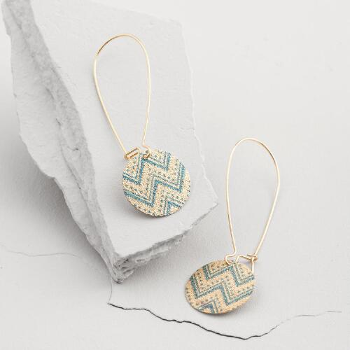 Gold and Turquoise Chevron Drop Earrings