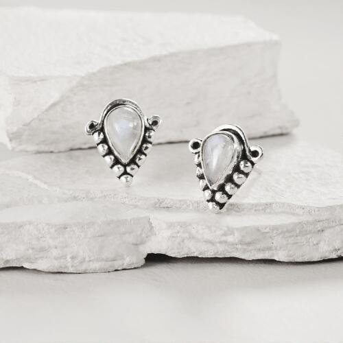 Silver Moonstone Triangle Stud Earrings