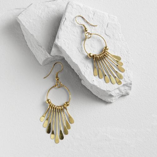 Gold Dangle Earrings with Metal Fringe