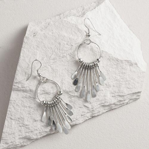 Silver Dangle Earrings with Metal Fringe