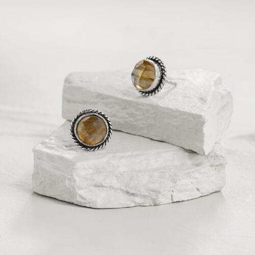 Round Silver Labradorite Stud Earrings