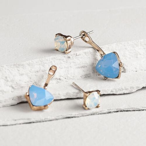 Gold Blue Triangle Double Drop Earrings
