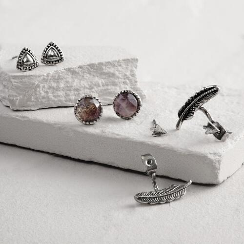 Silver Triangle and Leaf Stud Earrings Set of 3