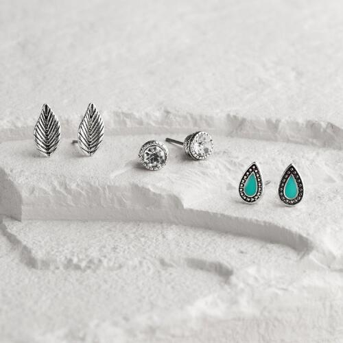 Silver Leaf, Turquoise and Rhinestone Stud Earrings Set of 3