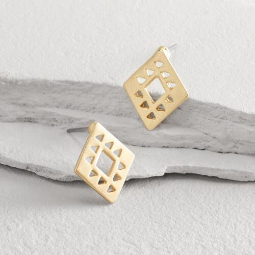 Gold Triangle Cutout Earrings
