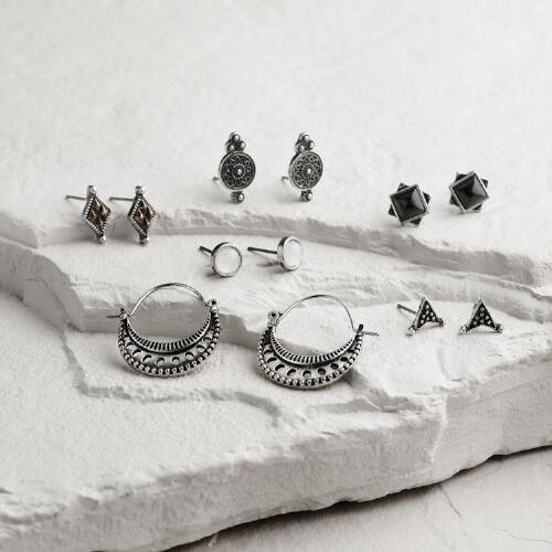 Silver and Gold Tribal Stud Earrings Set of 6