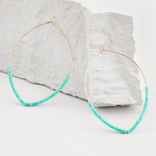 Large Gold Turquoise Bead Hoop Earrings