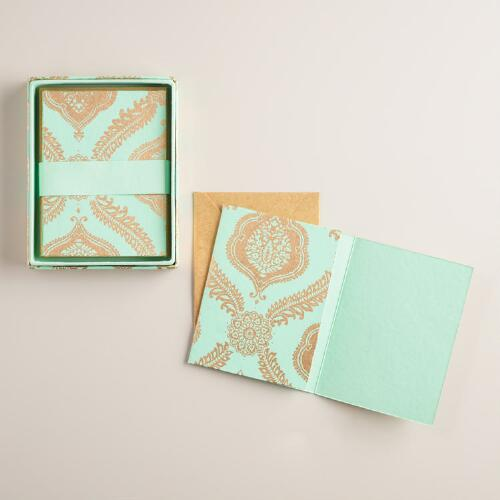 Turquoise Fern Medallion Handmade Notecards Set of 8