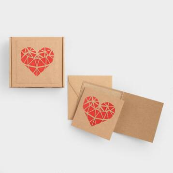Laser Cut Heart Notecards Set of 10