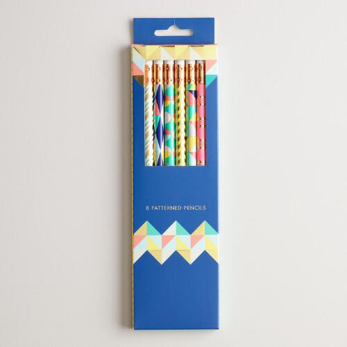 Pastel Geometric Wrapped Pencils Set of 8