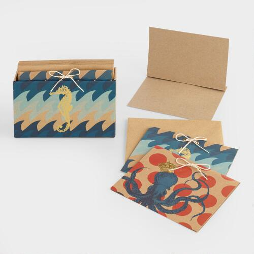 Sea Creatures Kraft Notecards Set of 10
