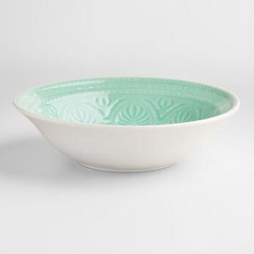 Aqua  Embossed Serving Bowl