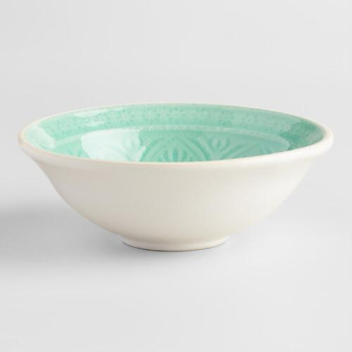 Small Aqua Embossed Bowls Set of 4