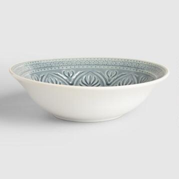 Gray Embossed  Serving Bowl