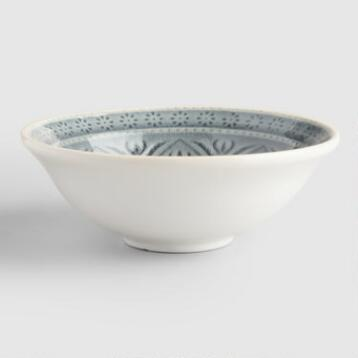 Small Gray Embossed Bowls Set of 4