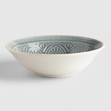 Gray Embossed Soup Bowls Set of 4