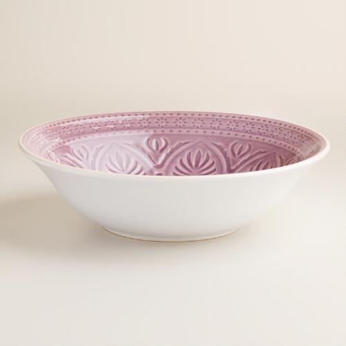 Plum  Embossed Serving Bowl
