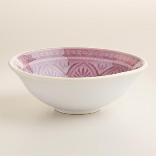 Small Plum Embossed Bowls Set of 4
