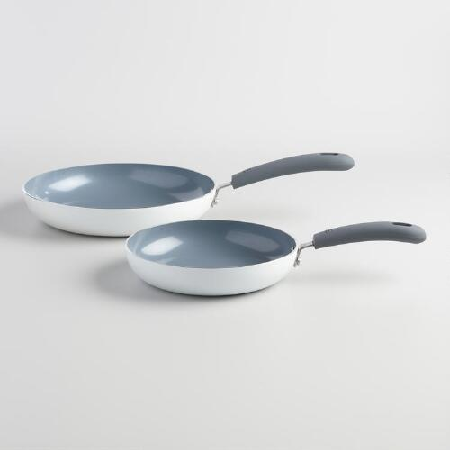 White Ceramic Skillets 2 Pack