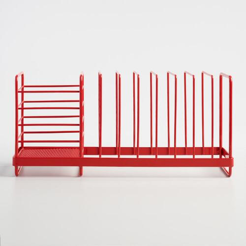 Red Compact Dish Rack