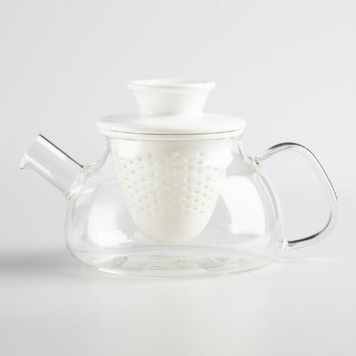 Glass Teapot with White Porcelain Infuser