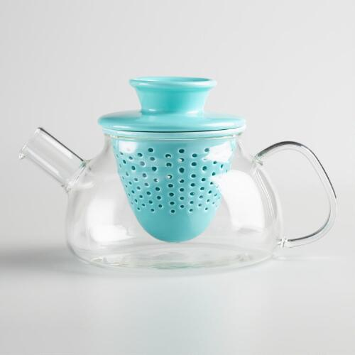 Glass Teapot with Aqua Porcelain Infuser