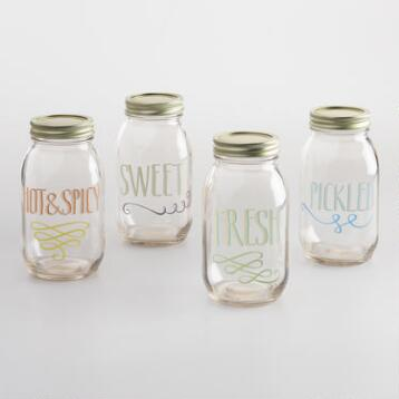 Fresh and Sweet Glass Mason Jars Set of 4