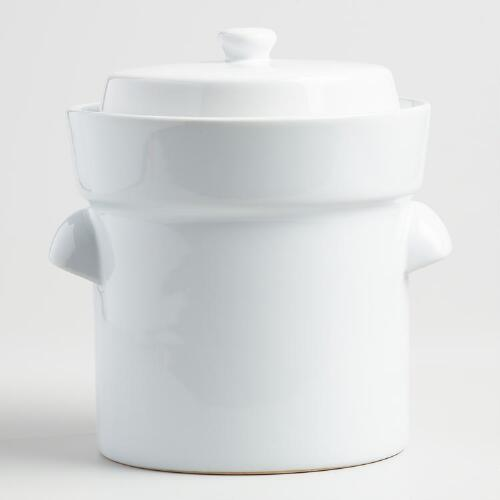 White Ceramic Fermentation Crock with Weights