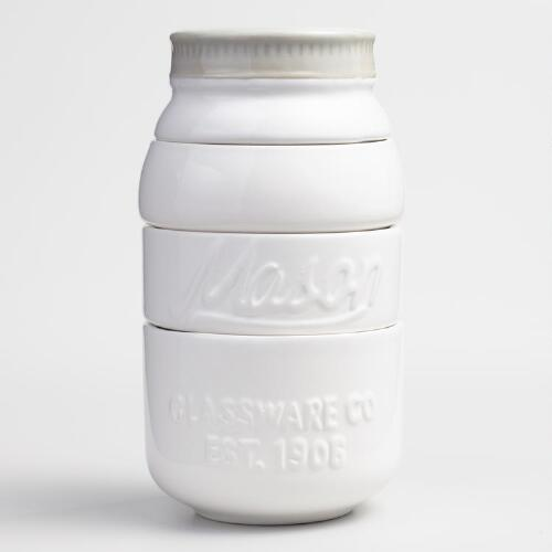 White Mason Jar Ceramic Measuring Cups