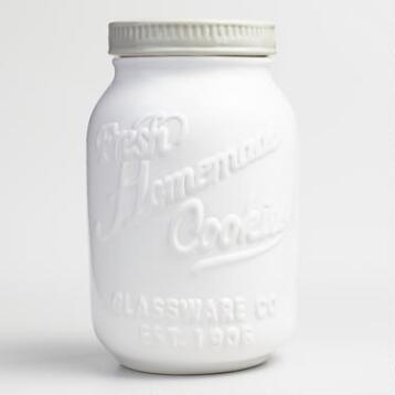 White Mason Jar Ceramic Cookie Jar